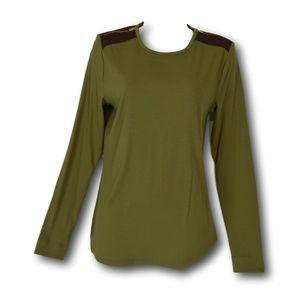 Lauren Ralph Lauren Ribbed Khaki L/S T-Shirt L